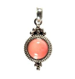 Zilveren hanger koraal (roze gekleurd) rond 10 mm ribbelrand