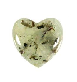 Prehniet met toermalijn edelsteen hart 3 cm