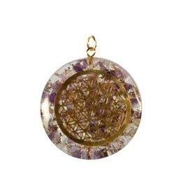 Orgone hanger bloem des levens amethist en bergkristal