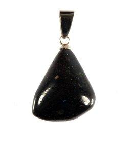Opaal (zwart) hanger met zilveren oogje