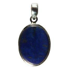 Zilveren hanger lapis lazuli ovaal 2,6 x 1,9 cm