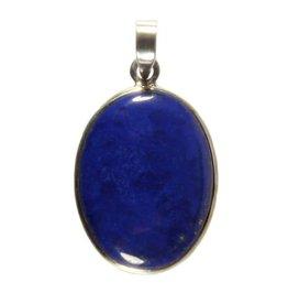Zilveren hanger lapis lazuli ovaal 2,8 x 2,2 cm