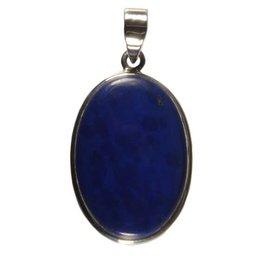 Zilveren hanger lapis lazuli ovaal 3 x 2 cm