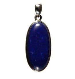 Zilveren hanger lapis lazuli ovaal 3,2 x 1,5 cm