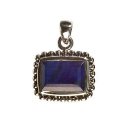 Zilveren hanger lapis lazuli rechthoek