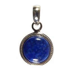 Zilveren hanger lapis lazuli rond 12 mm