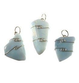 Opaal (Owyhee blue) hanger in zilverdraad