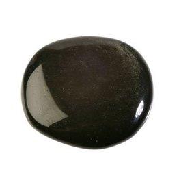 Obsidiaan (zilver) steen plat gepolijst