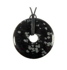 Obsidiaan (sneeuwvlok) hanger donut 4 cm