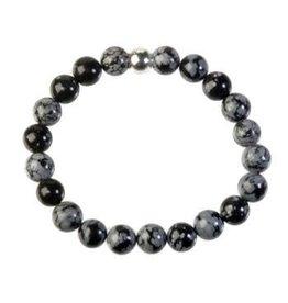 Obsidiaan (sneeuwvlok) armband 20 cm | 8 mm kralen