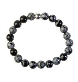 Obsidiaan (sneeuwvlok) armband 18 cm | 8 mm kralen