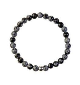 Obsidiaan (sneeuwvlok) armband 18 cm | 6 mm kralen