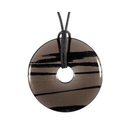 Obsidiaan (lamellen) hanger donut 4 cm