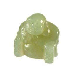 New jade (serpentijn) boeddha 4,5 cm
