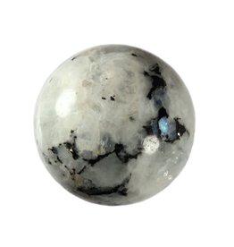 Maansteen (regenboog) met toermalijn bol 60,1 mm