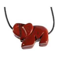 Jaspis (rood) hanger olifant doorboord