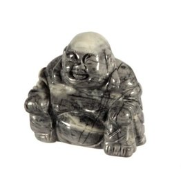 Jaspis (picasso) boeddha 4,5 cm