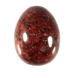Jaspis (breccie) edelsteen ei 4,5 x 3,5 cm