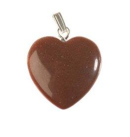 Goudsteen (rood) hanger hart 20 mm