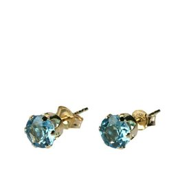 Gouden (14k) oorstekers topaas (blauw) gefacetteerd 5 mm