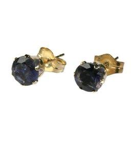 Gouden (14k) oorstekers ioliet gefacetteerd 5 mm