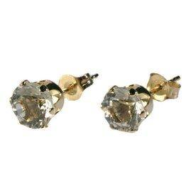 Gouden (14k) oorstekers bergkristal gefacetteerd 5 mm