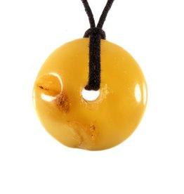 Barnsteen hanger donut opaak 3 - 3,5 cm
