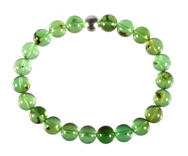 Barnsteen (natuurlijk groen) armband 18 cm   8 mm kralen