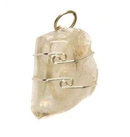 Azeztuliet (goud) hanger in zilverdraad