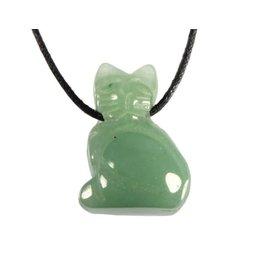 Aventurijn (groen) hanger kat doorboord