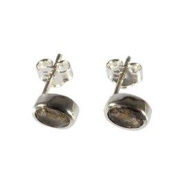 Zilveren oorstekers labradoriet ovaal facet 7 x 5 mm