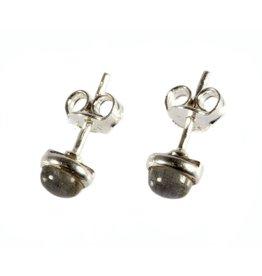 Zilveren oorstekers labradoriet rond 5,5 mm