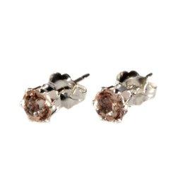 Zilveren oorstekers morganiet gefacetteerd 4 mm