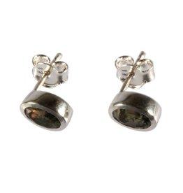 Zilveren oorstekers mosagaat ovaal facet 7 x 5 mm