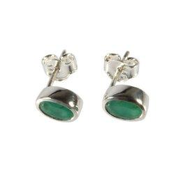 Zilveren oorstekers smaragd ovaal facet 7 x 5 mm