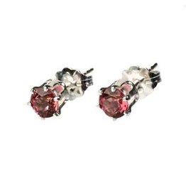 Zilveren oorstekers toermalijn (roze) gefacetteerd 4 mm