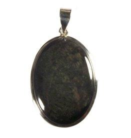 Zilveren hanger obsidiaan (fluweel) ovaal 3,5 x 2,5 cm