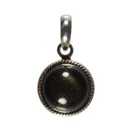 Zilveren hanger obsidiaan (goud) rond 12 mm