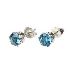Zilveren oorstekers topaas (blauw) gefacetteerd 6 mm