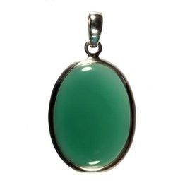 Zilveren hanger onyx (groen) ovaal 3,3 x 2,4 cm