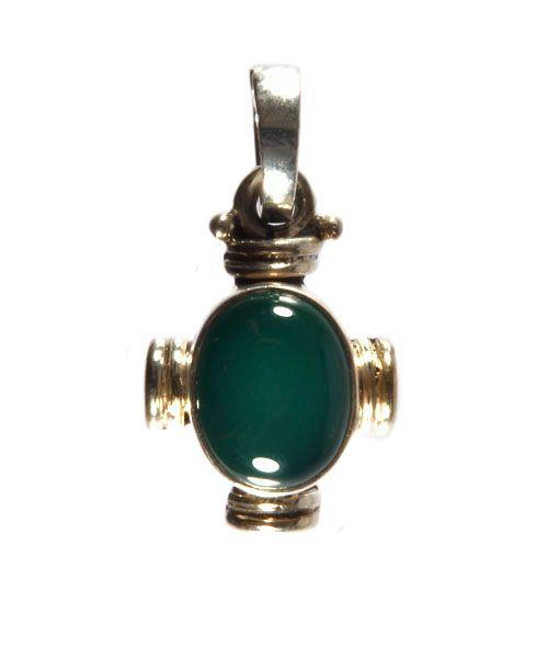 Zilveren hanger onyx (groen) ovaal kruisje 9 x 7 mm