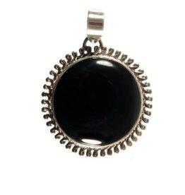 Zilveren hanger onyx rond 2,8 cm