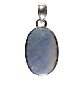 Zilveren hanger opaal (blauw) ovaal 2,4 x 1,5 cm