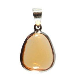 Zilveren hanger opaal (vuur) druppel 1,8 x 1,5 cm