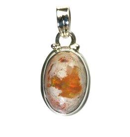 Zilveren hanger opaal (vuur) ovaal 1,7 x 1,1 cm