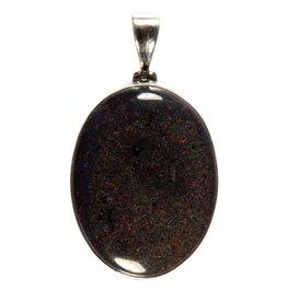 Zilveren hanger opaal (zwart) ovaal 4 x 3 cm