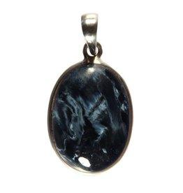 Zilveren hanger pietersiet (blauw) ovaal 2,5 x 1,8 cm
