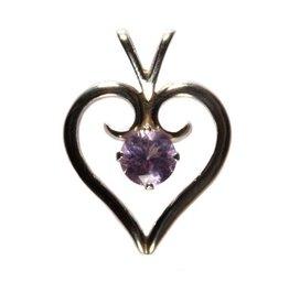 Zilveren hanger pink lazurine hartje 1,8 cm