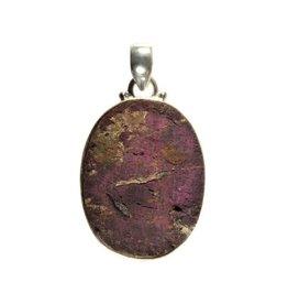 Zilveren hanger purpuriet ovaal ruw 3 x 2,3 cm