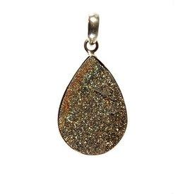 Zilveren hanger pyriet (regenboog) druppel 2,5 x 1,8 cm